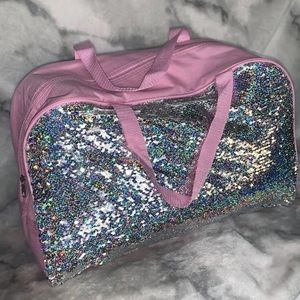 Handbags - Pink and silver holographic sequin overnight tote